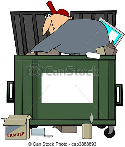 ... Dumpster Diving Man - This illustration depicts a man.
