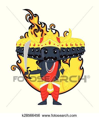 Clip Art - Happy Dussehra - Cartoon Ravan. Fotosearch - Search Clipart,  Illustration Posters