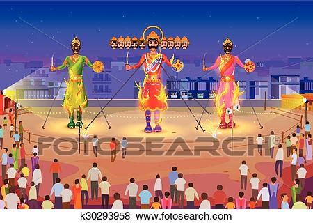 Clip Art - Ravana burning in Dussehra. Fotosearch - Search Clipart,  Illustration Posters,