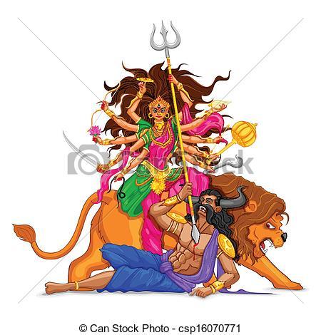 Happy Dussehra with goddess Durga - csp16070771