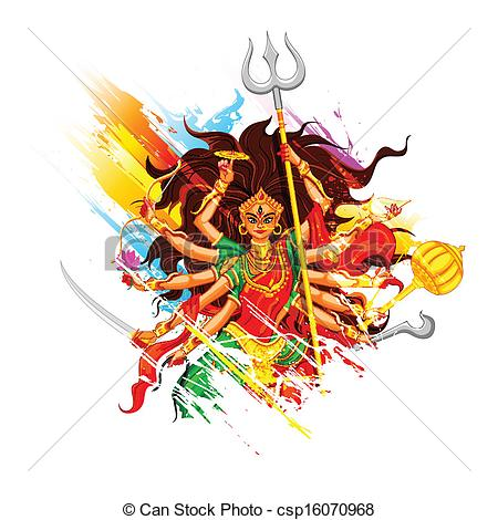 Happy Dussehra with goddess Durga - csp16070968