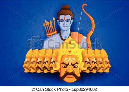 Rama killing Ravana in Happy Dussehra - csp30294002