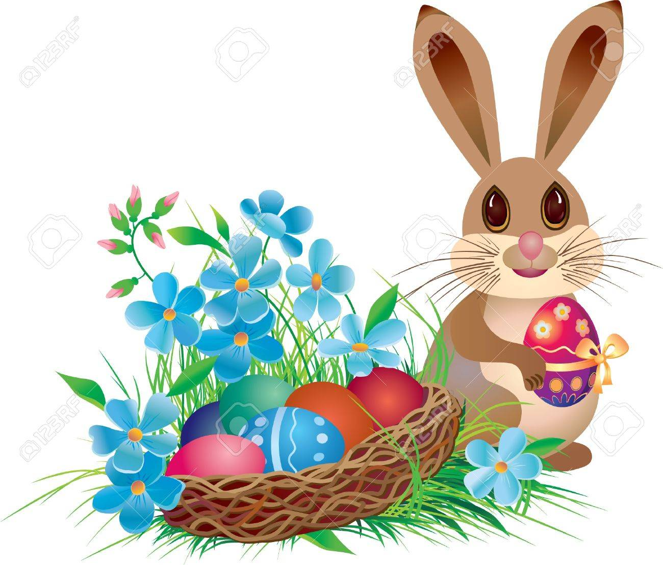 Easter basket and rabbit with egg Stock Vector - 13100003