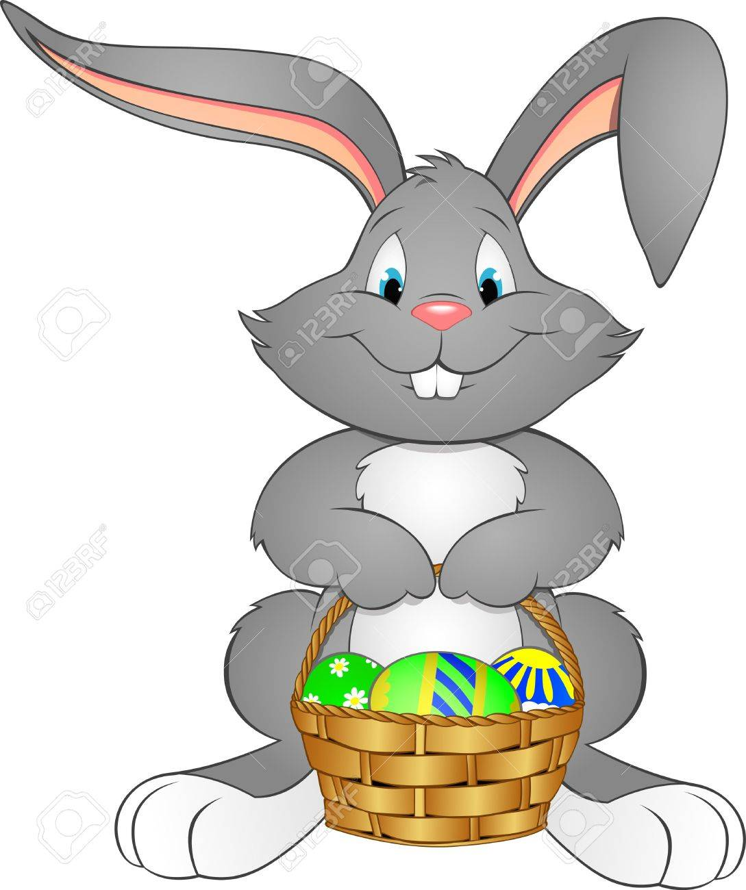 illustration Easter bunny with basket Stock Vector - 31390242
