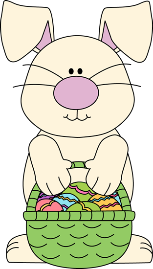 White Bunny with an Easter Basket