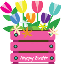 Crate Full Of Flowers To Celebrate Easter Clipart Size: 175 Kb