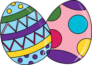 Easter Eggs Clipart Image: clip art cartoon of beautifully colored Easter  Eggs