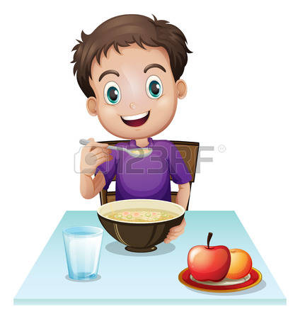 eat breakfast: Illustration of a boy eating his breakfast at the table on a white