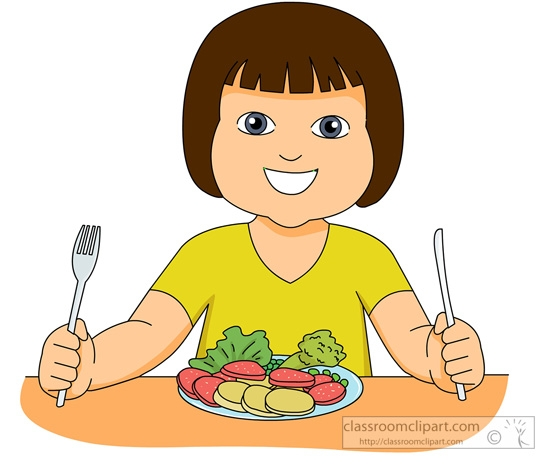 child eating healthy food clipart