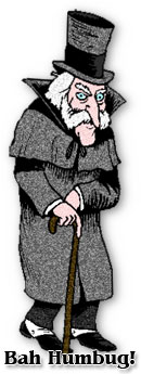 Ebenezer in his top hat saying Bah Humbug clip art