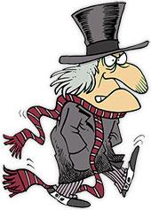 Ebenezer Scrooge on the move. Even when he is walking he looks grumpy.