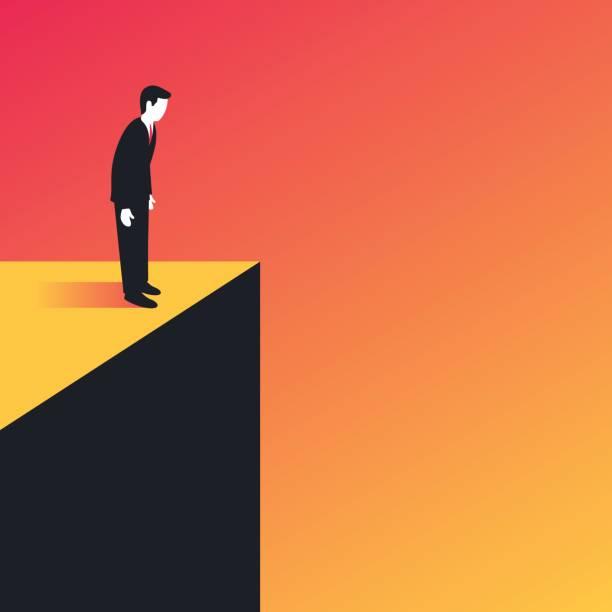 Businessman standing on the edge vector art illustration