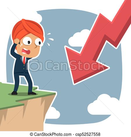Indian businessman shock see downward arrow from cliff edge - csp52527558