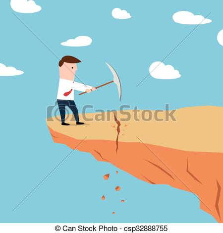 Man on a cliff edge digging ground - csp32888755