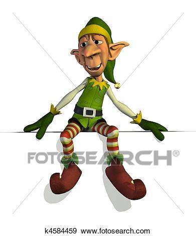 Santau0027s Elf sitting on an edge - 3D render.