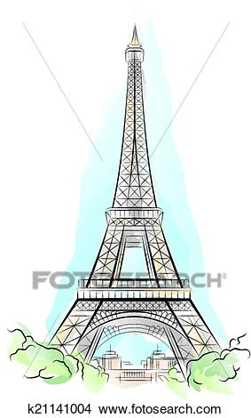 Clipart - Drawing color Eiffel Tower in Paris. Fotosearch - Search Clip Art,  Illustration