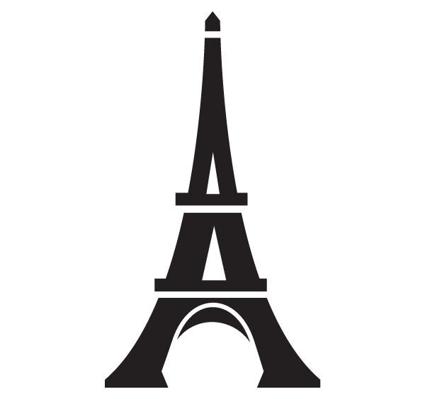 Eiffel tower line drawing .
