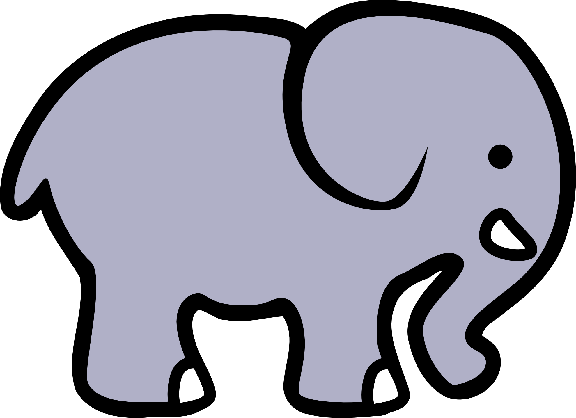 Elephant clip art black and white free clipart 2