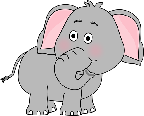 Cute Baby Elephant Clip Art | Elephant Looking Behind Clip Art Image - cute  elephant with its trunk .