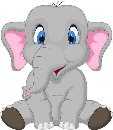 Cute elephant cartoon sitting Illustration