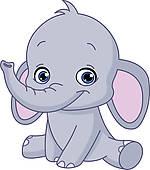 Elephant silhouette; Baby elephant