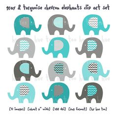 elephants clip art, boys chevron elephant clipart, gray blue aqua turquoise, cute images for invitations baby shower birthday download 067