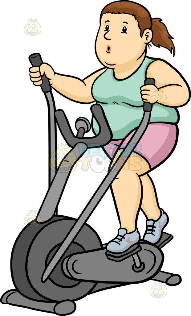 A fat woman using an elliptical machine