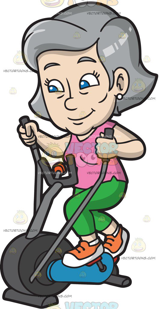 A Mature Woman Riding An Elliptical Trainer