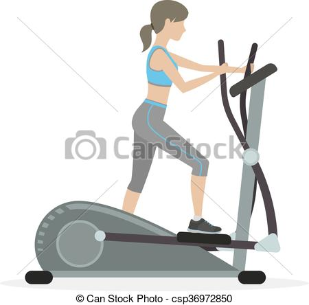 Fitness girl on the elliptical trainer - csp36972850
