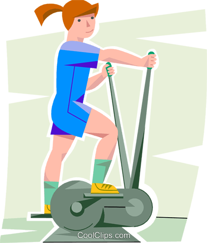 girl working out on a elliptical trainer Royalty Free Vector Clip Art  illustration vc099879
