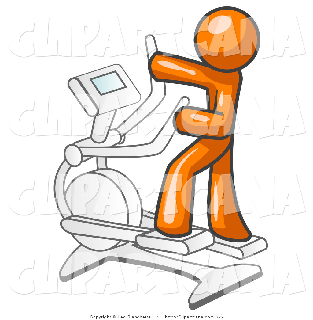 Vector Clip Art of an Orange Man Working out on a Cross Trainer in a Gym