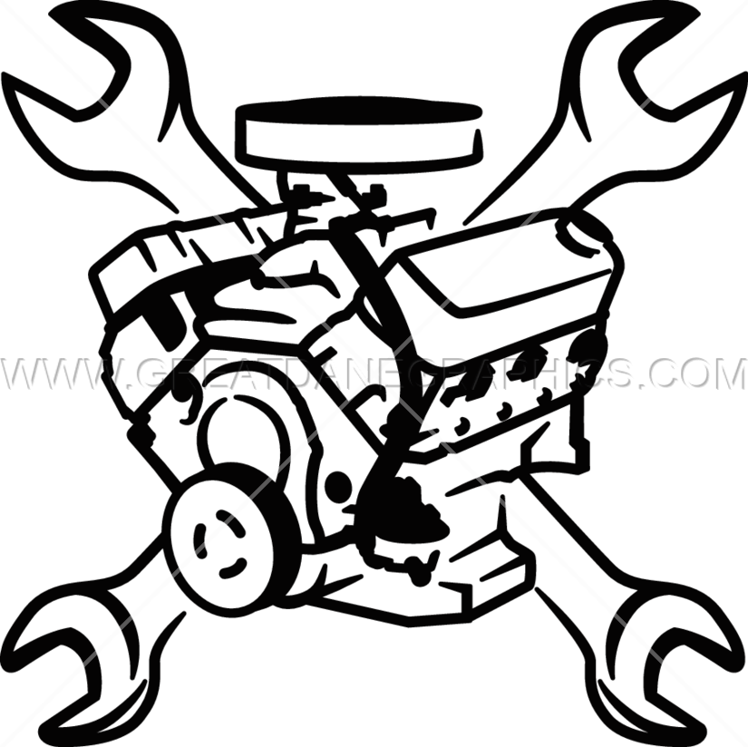 Engine Block u0026 Wrenches | Production Ready Artwork for T-Shirt Printing  image royalty free