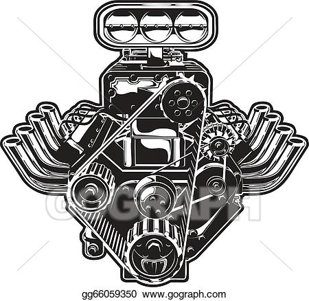 Vector Cartoon Turbo Engine - Engine Clipart