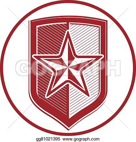 EPS Illustration - Military shield with pentagonal comet star, protection heraldic sheriff blazon. army symbol, sheriff badge. Vector Clipart gg81021395