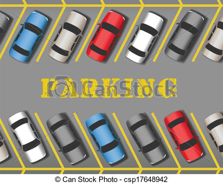Eps Vector Of Cars Park In Store Parking Lot Rows Many Cars Parked