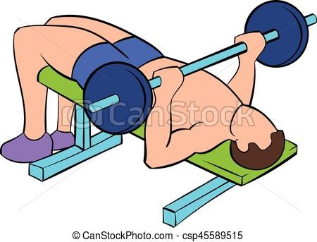 Men training on the bench press icon cartoon - csp45589515