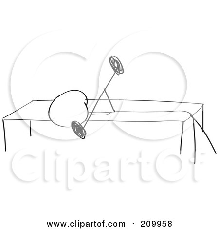 Royalty-Free (RF) Clipart Illustration of a Stick Fitness Character Doing A  Bench Press Exercise by Clipart Girl