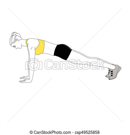 The Girl Is Doing Sports Exercises Bench Press Isolated On White  Background. Vector Illustration.