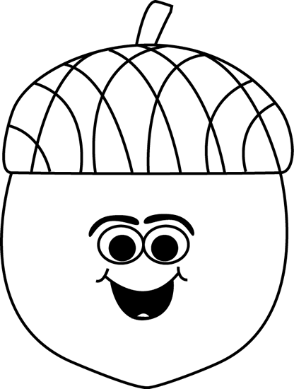 Cartoon Acorn Black and White