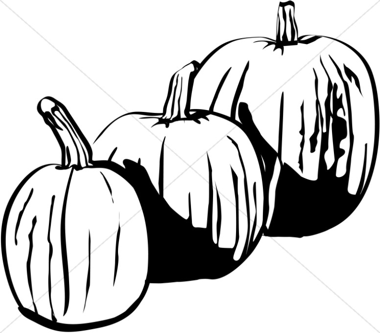 Three Black and White Pumpkin - Fall Clipart Black And White