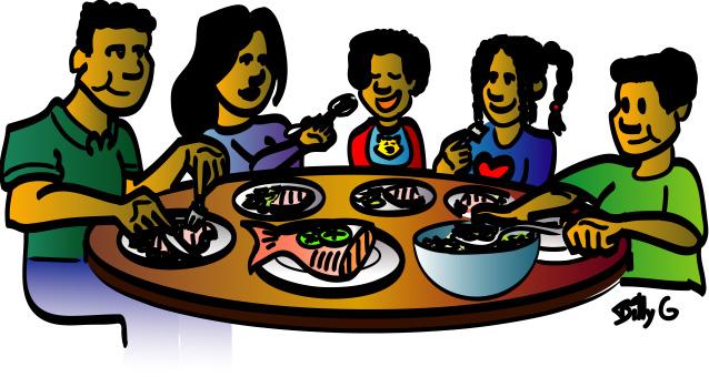 family dinner table clipart