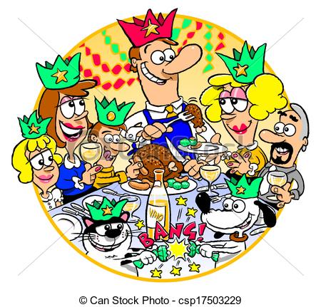 ... Family Christmas Dinner - Cartoon of family gathered for.