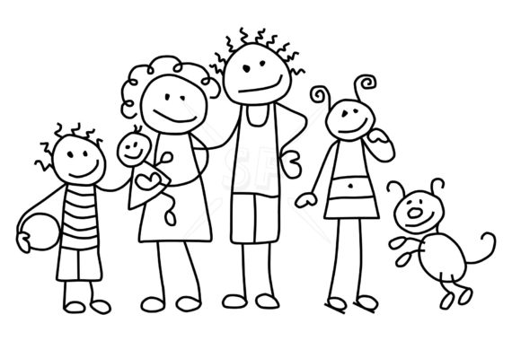 family clipart black and white cute family cartoon clipart black and white  clipground free clip art