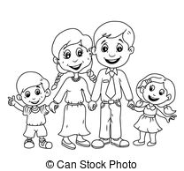 happy family clipart black and white 9