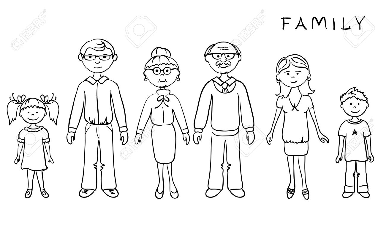 Picture Of A Family Clipart Black And White Clipartsgram