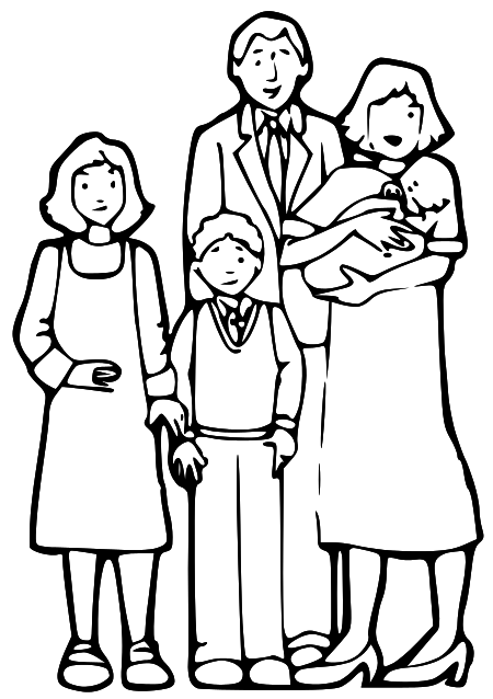 Realistic Family Clipart Black And White 77 On Science Clipart with Family  Clipart Black And White