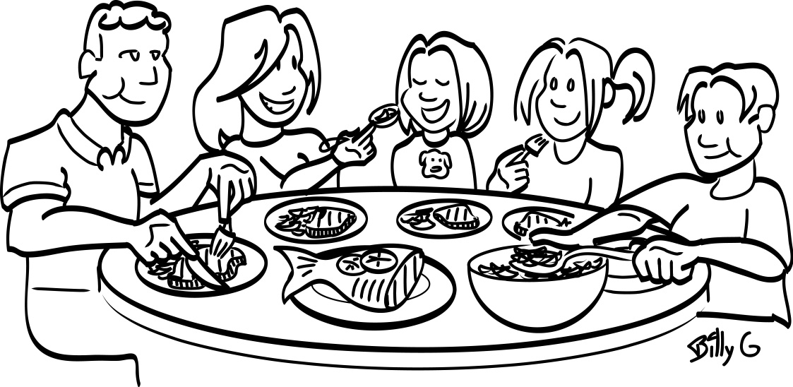 Family Clipart Eating Together. Black And White Of Nutrition .