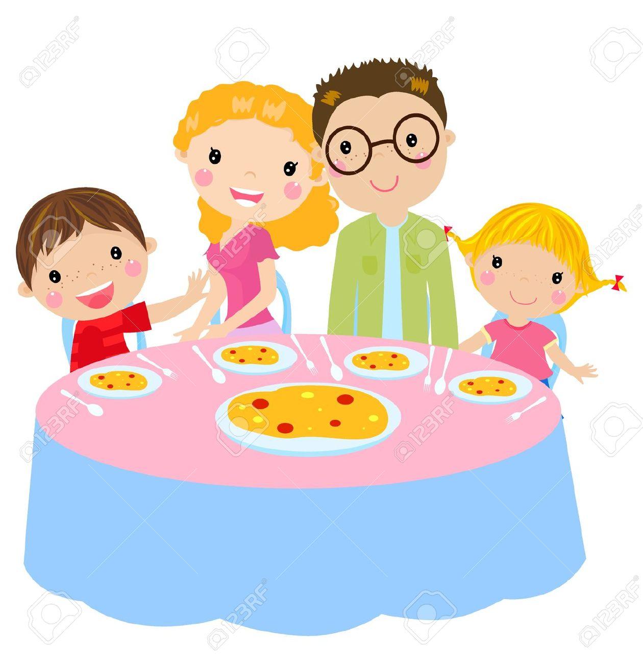 family dinner table: family .
