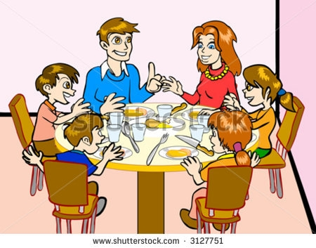 Family Eating Together Clipart