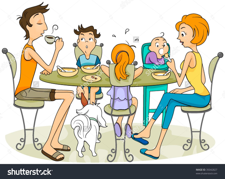 Family Eating - Vector .